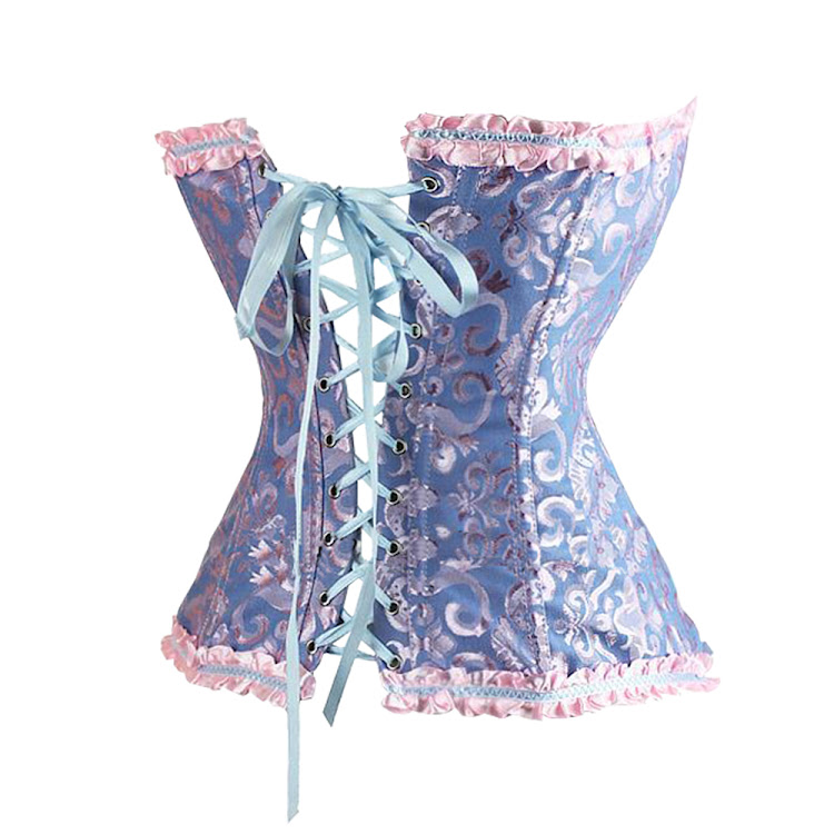Sweetheart Satin Corset Light Pink & Baby Blue Color - Bridal Slimming Corset Bustier