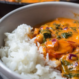 Roasted Red Pepper, Chickpea and Spinach Curry Recipe