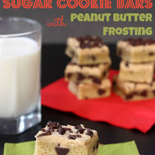 Chocolate Chip Sugar Cookie Bars with Peanut Butter Frosting for #CookieWeek