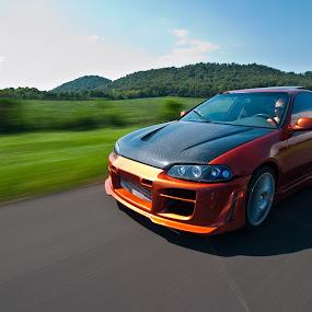 Fast Lane by Michael  Kitchen - Transportation Automobiles ( car, orange, reflection, wheels, road, blur, landscape, nikond700, honda, d700, motionblur, motion, nikon, fast )