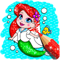 Glitter mermaid coloring pages for kids icon