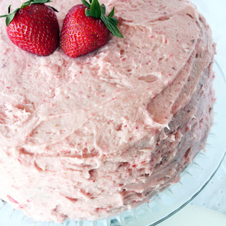 Chocolate Cake with Fresh Strawberry Buttercream Frosting