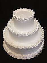 Photo: All smooth 3-tier wedding cake frosted in whipped cream. (the smooth look of fondant. Top and bottom borders only.