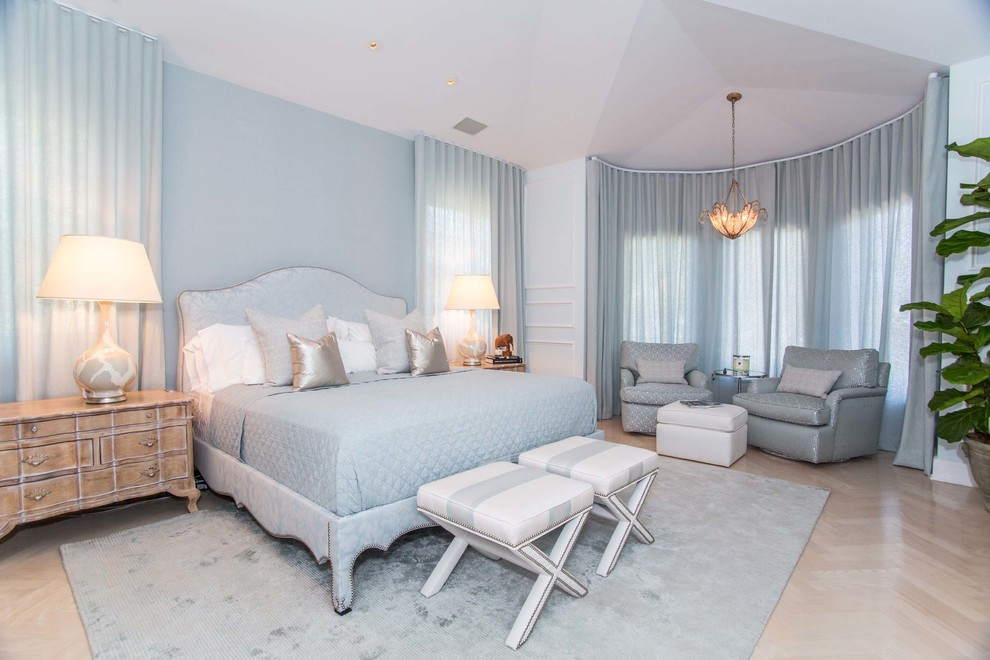 A Cool Bedroom with Ice Blue Color