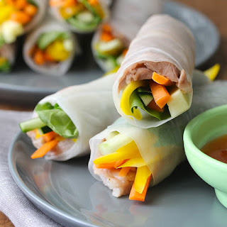 Pork Spring Rolls with Spicy Plum Sauce.