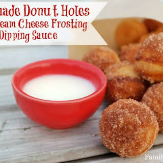 Homemade Donut Holes with Cream Cheese Frosting Dipping Sauce.