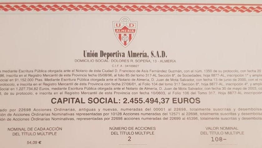 El valor de la acción en su día fue de 54.09 euros.