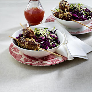 Spicy Beef Skewers with Red Cabbage Salad