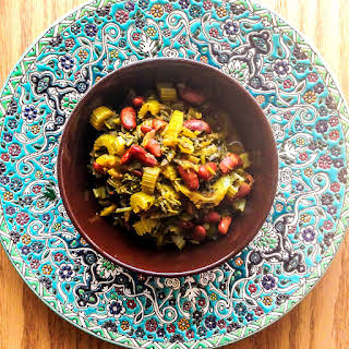 Persian Celery Stew - Khoreshte Karafs (Vegetarian Version).