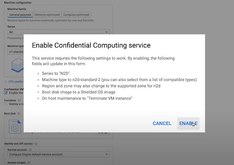 """Screenshot from the video of a pop-up box with header """"Enable Confidential Computing Service"""" above bulleted list and """"Cancel"""" and """"Enable"""" buttons in the lower right corner"""