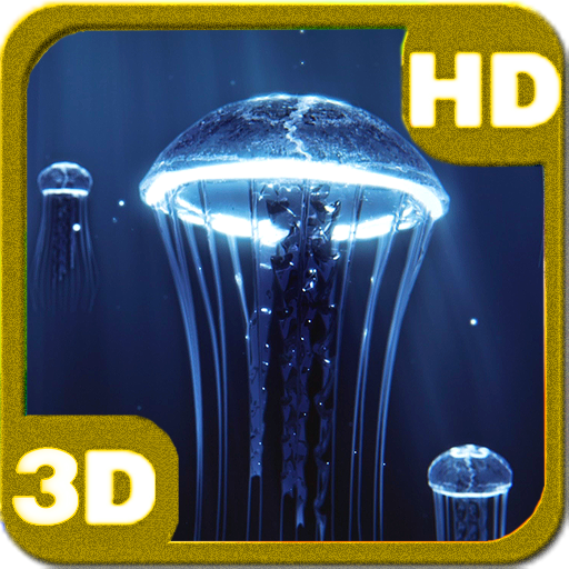 Precious Jellyfish 3D Hovering Under Deep Blue Sea