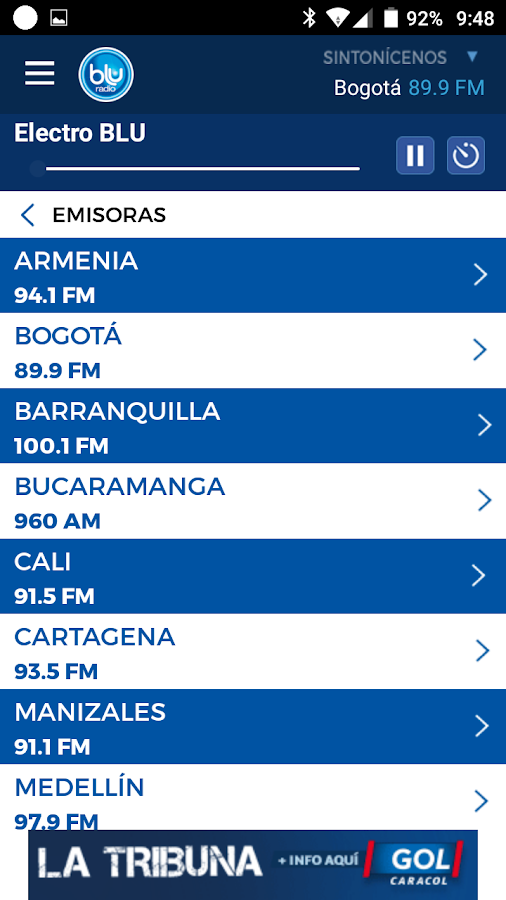 BLU Radio: captura de pantalla