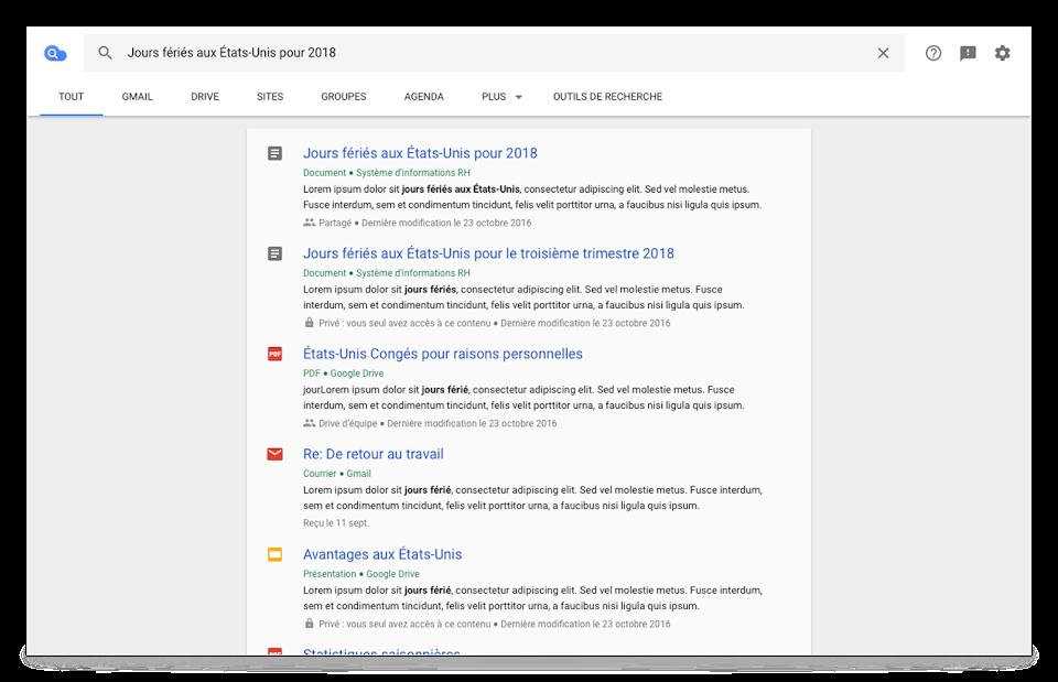 Vue du navigateur CloudSearch