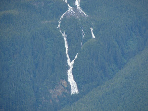Photo: A melting snowfield forms a waterfall in the Kakuhan Mountains.
