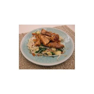 Honey-coated Salmon With Spinach And Sesame Noodles.