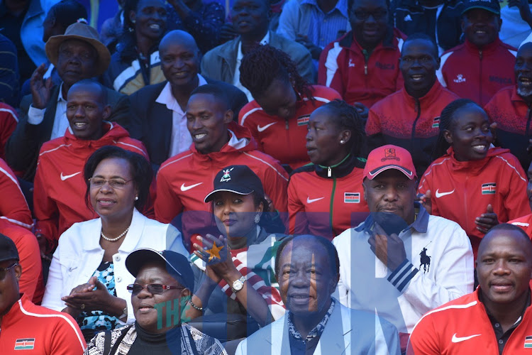 Youth CS Margaret Kobia, Sports CS Amina Mohamed, Baringo Senator Gideon Moi and other supporters at KICC on Saturday, October 12, 2019 to watch as Eliud Kipchoge makes history.