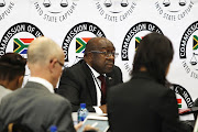 Nhlanhla Nene, minister of finance is seen at the commission of inquiry into state capture that is chaired by the deputy chief justice Raymond Zondo.