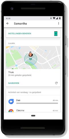Mobiel scherm met de locatie van het apparaat van een kind