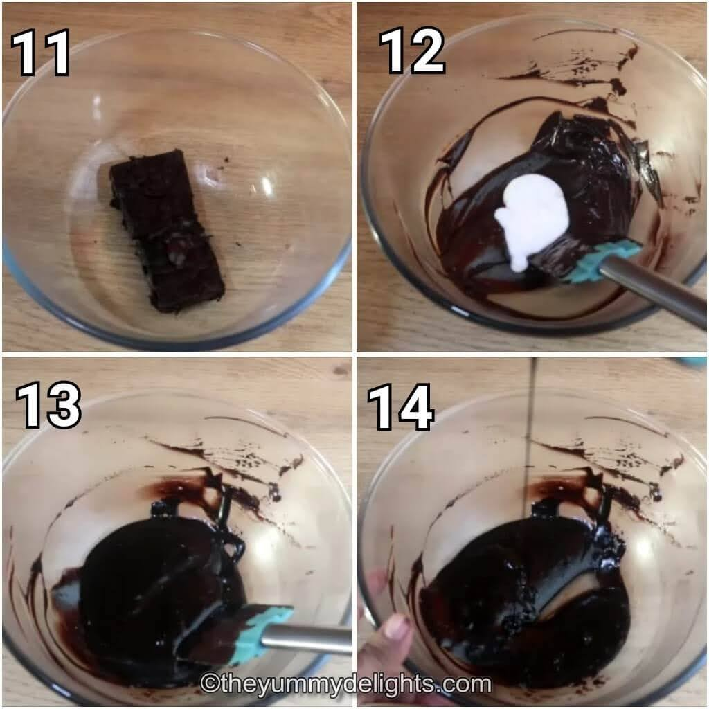 step by step image collage of making the chocolate drip