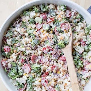 Cauliflower Broccoli Bacon Corn Salad.