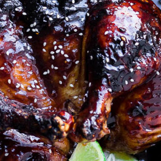 Pomegranate Lime Glazed Roasted Chicken.