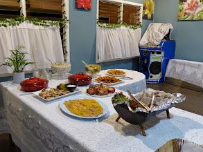 Photo: The spread included coconut crab, cassava root and poisson cru -a ceviche in coconut milk.