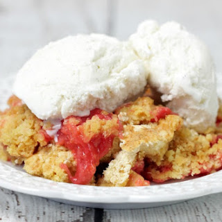 Quick and Easy Rhubarb Dump Cake.