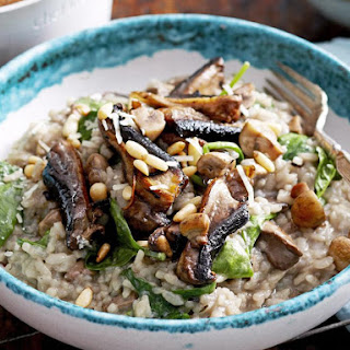 Oven Baked Mushroom and Spinach Risotto.