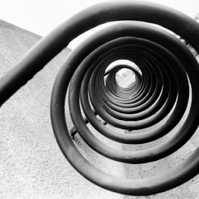 Fibonacci Spiral by Adrian Popescu - Black & White Abstract ( film, abstract, detail, b&w, 35 mm, black and white, analogue, analog, analogic, spiral, black&white )
