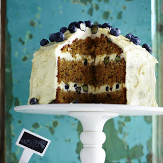 Carrot and Walnut Cake with Blueberries.