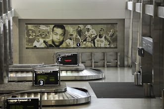 Photo: The domestic baggage claim area at Detroit Metropolitan Airport's (DTW) McNamara Terminal features specially-commissioned etchings showcasing exceptional Michigan natives. CREDIT: Vito Palmisano/Wayne County Airport Authority.
