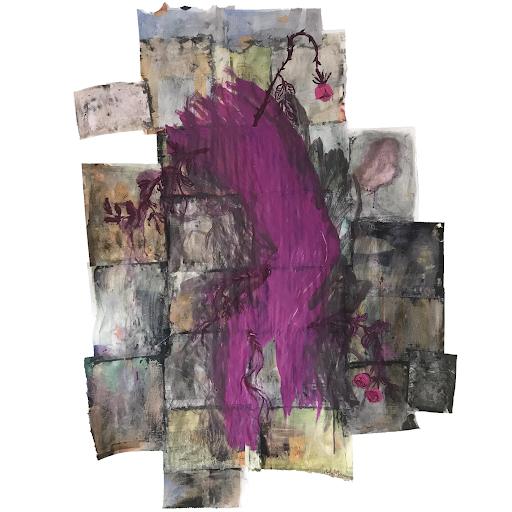 Vouloir_plaire_La_passion_peinture_acrylique_papier_magazine_sophie_lormeau_artiste_peintre_art_contemporain_singulier_original_dualite_visible_vs_invisible_emotion_violet_rose_epines_amour_lover_adagp_paris_2020_©