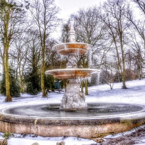 by Betty Taylor - City,  Street & Park  Fountains ( grounds, snow, fountains, ice, water,  )