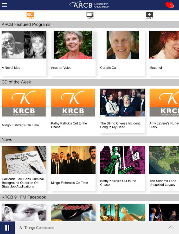 KRCB App- screenshot