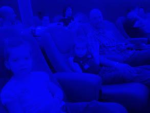 Photo: Blue light at Brno's observatory.