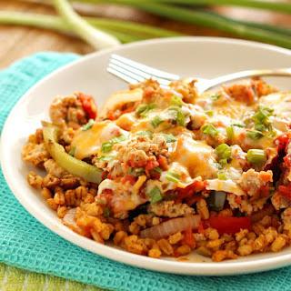 Layered Mexican Barley Casserole.