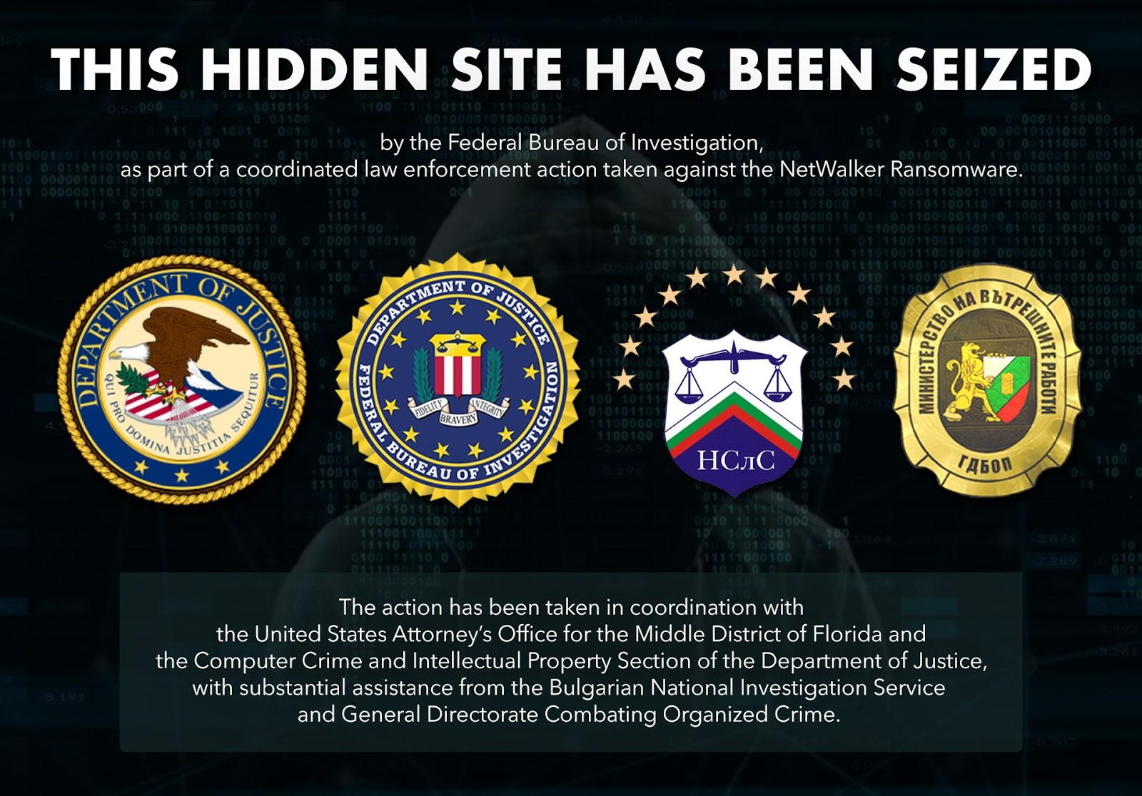 page d'accueil du site de communication sur le Darkweb