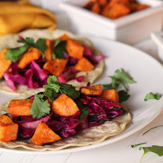 Sweet Potato Black Bean Tacos with Cabbage Lime Slaw