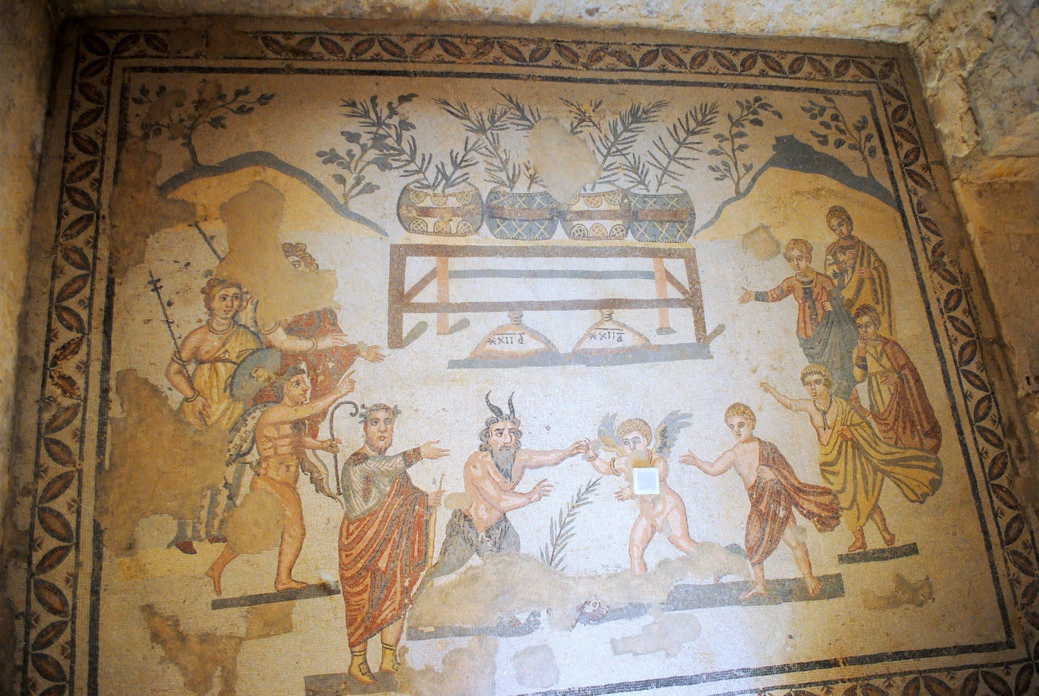 My Photos: Italy -- Mosaics -- Sicily -- Piazza Armerina -- The Cubicle of the Pan and Eros Mosaic
