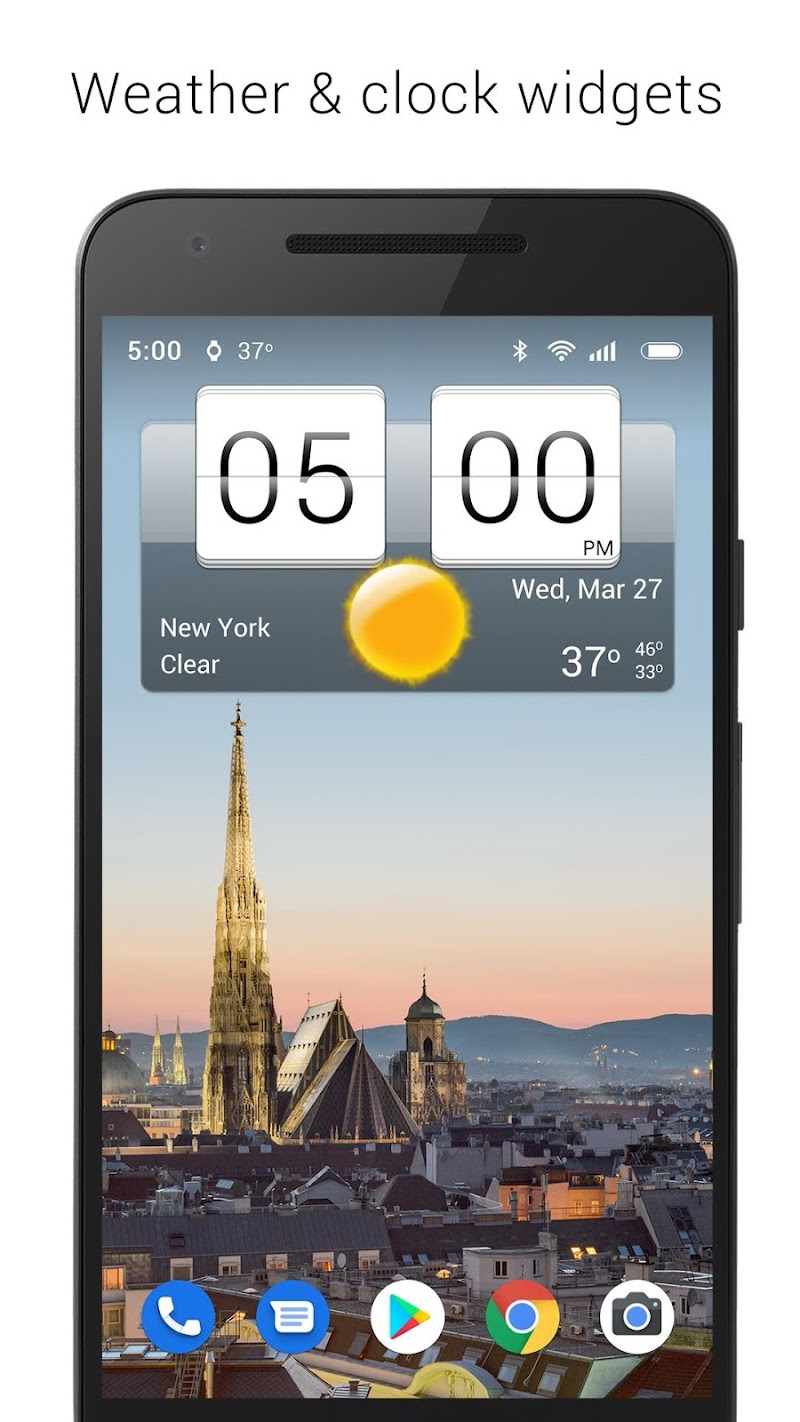 Sense Flip Clock & Weather (Ad-free) Screenshot 0