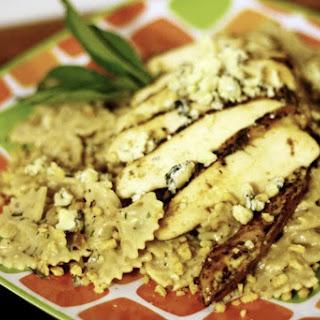 Grilled Chicken Pasta with Creamy Gorgonzola Walnut Cream Sauce.
