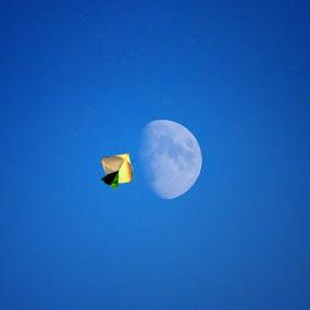 Fly To Moon by Nazir Gohar - Digital Art Abstract ( moon, inspiration, sky, hdr, fly, art, kite, photography, nikon d90, photoshop )