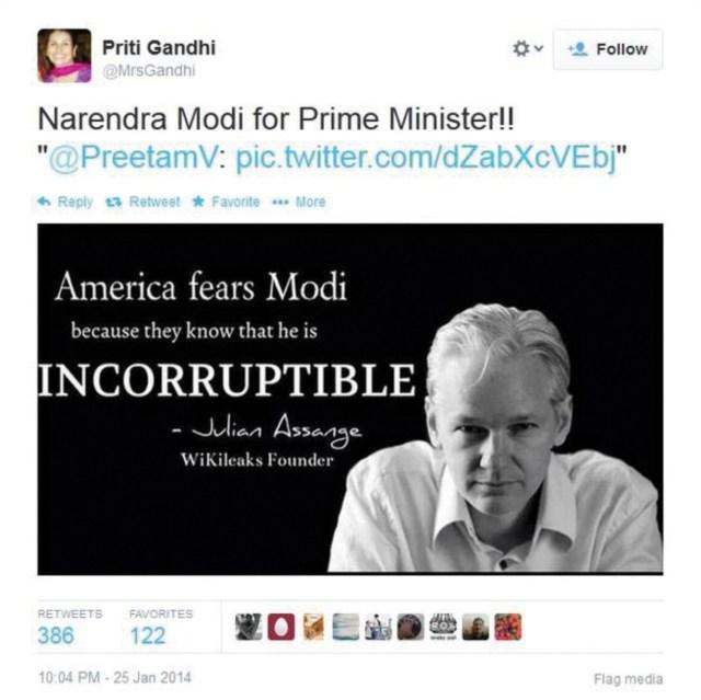 Priti Gandhi, Narendra Modi incorruptible - Julian Assange