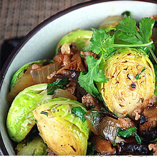 Stir Fried Brussels Sprouts and Pork in Black Bean Sauce