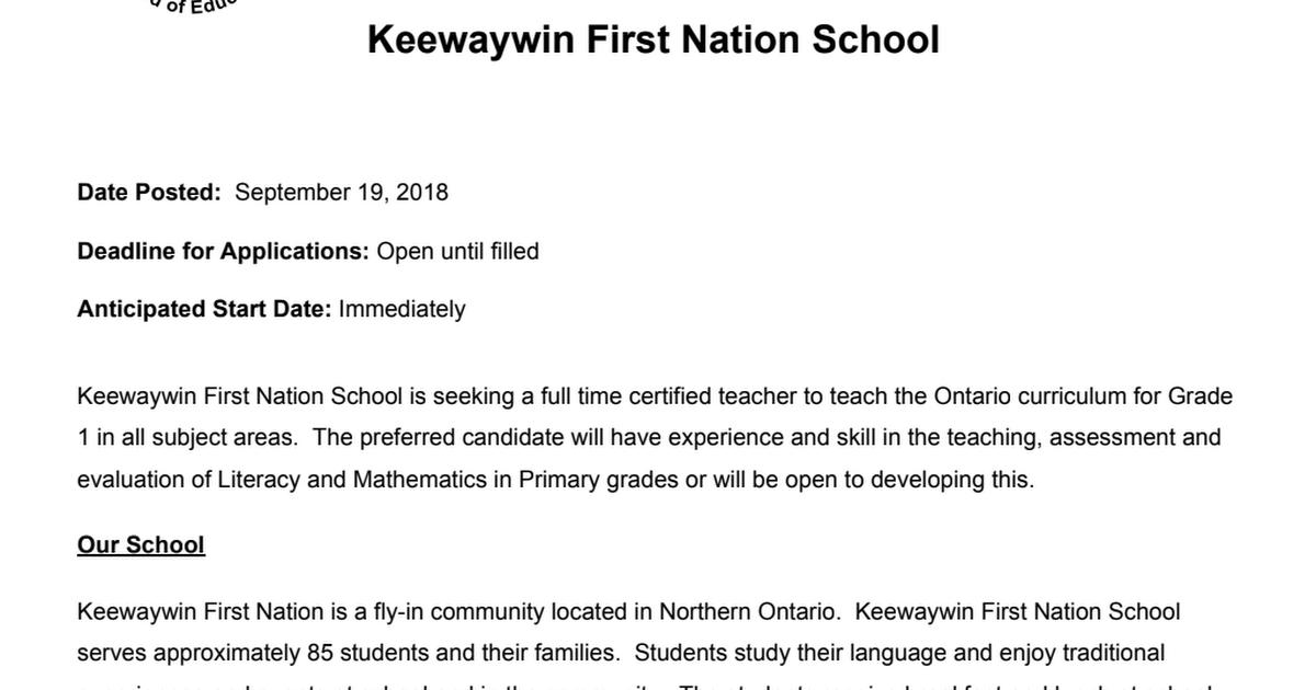Grade One Posting - Keewaywin pdf - Google Drive