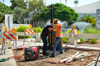 Photo: Placing the pedestal for the Scottsdale Rotary Clock manufactured by Electric Time Company