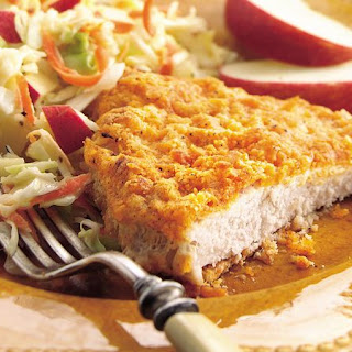 Oven-Fried Pork Cutlets with Apple Slaw.