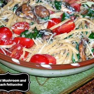 Creamy, Creamy Mushroom and Spinach Fettucini.