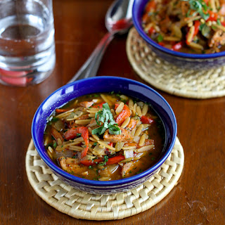 Hearty Chicken Sausage, Roasted Pepper and Whole Wheat Orzo Soup
