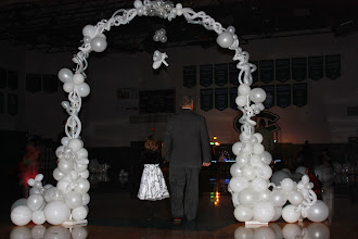 Photo: Forrest Hills Father Daughter dance, Angles theme. First Father & Daughter through the arch ~ Balloons By Turnadaisy ~ artwithballoons.com Grand Rapids, Mi.